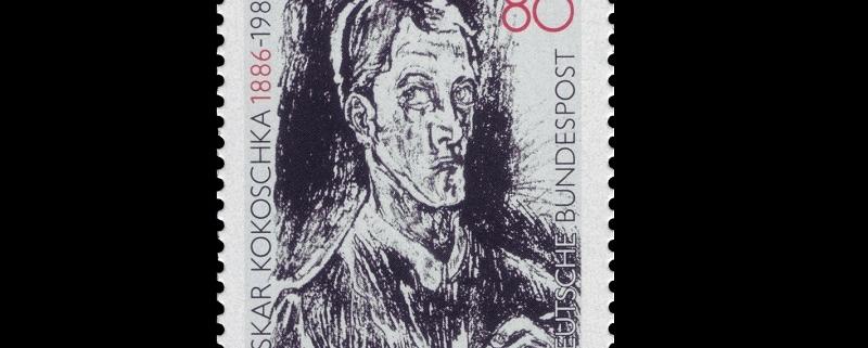 Briefmarke der Deutschen Bundespost zum 100. Geburtstag von Oskar Kokoschka
