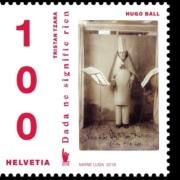 Briefmarke der Schweizer Post zum 100. Jubiläum der Eröffnung des Café Voltaire als Zentrum dadaistischer Künstler